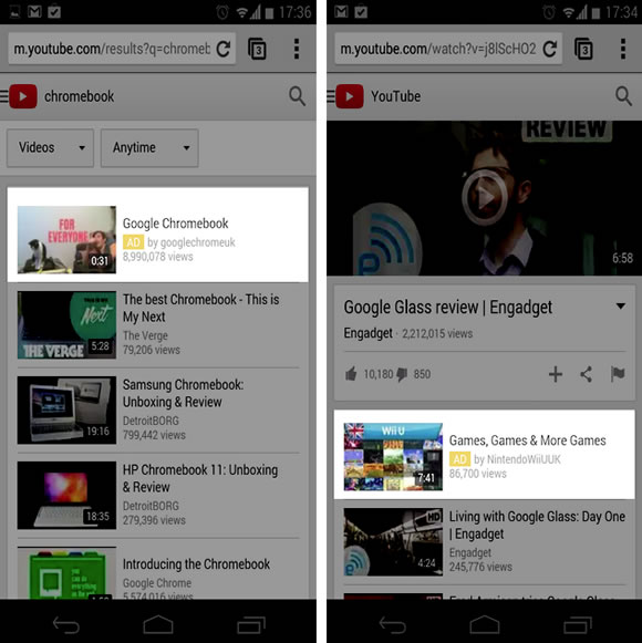 YouTube Mobile Web search and watch pages