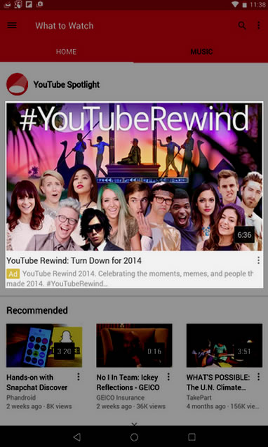 YouTube mobile apps home page
